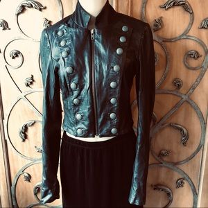 Black Muubaa Leather Cropped REVOLUTION Jacket